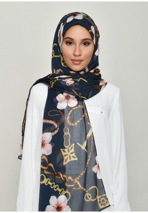 Blossom Navy-Free Style with Bokitta Inner-Printed Crinkled Chiffon (Include Inner)