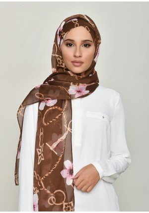 Blossom Brown-Free Style with Xinner-Printed Crinkled Chiffon (Include Inner)