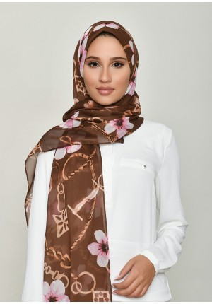 Blossom Brown-Free Style with Bokitta Inner-Printed Crinkled Chiffon (Include Inner)