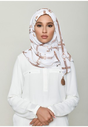 Buckle White-Chic Mini-Printed HD Georgette