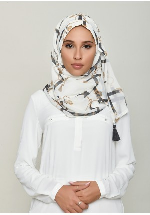 Buckle Cream-Chic Mini-Printed HD Georgette
