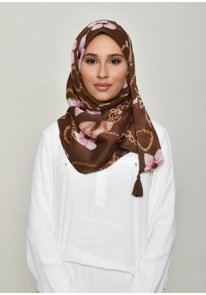 Blossom Brown-Chic Mini-Printed Crinkled Chiffon