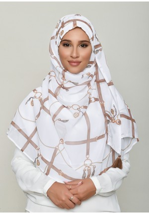 Buckle White-Chic!Maxi-Printed HD Georgette