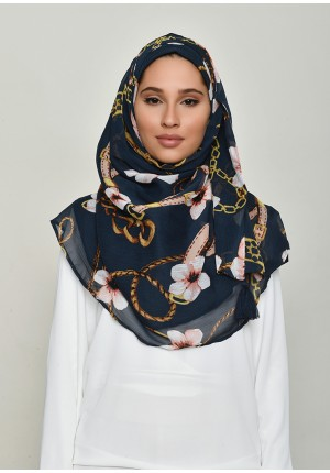 Blossom Navy-Chic!-Printed Crinkled Chiffon
