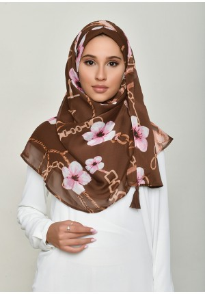 Blossom Brown-Chic!-Printed Crinkled Chiffon