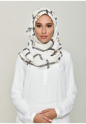 Buckle Cream-Voila!-Printed HD Georgette