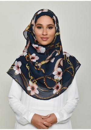 Blossom Navy-Voila!Maxi-Printed Crinkled Chiffon