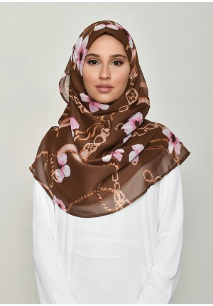 Blossom Brown-Voila!Maxi-Printed Crinkled Chiffon