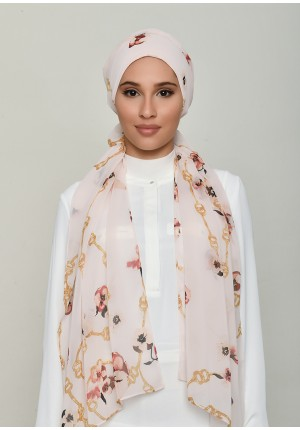 Chains Pink-Cap Shawl-Printed Georgette