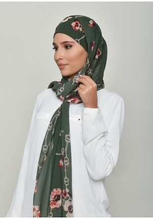Chains Green-Cap Shawl-Printed Georgette