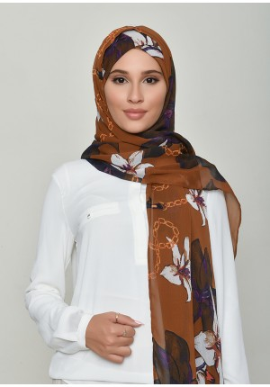 Lilies Caramel-Free Style with Xinner-Printed Crinkled Chiffon