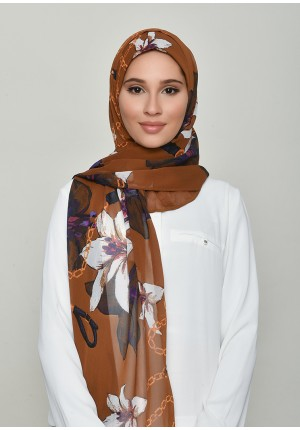 Lilies Caramel-Free Style with Bokitta Inner-Printed Crinkled Chiffon