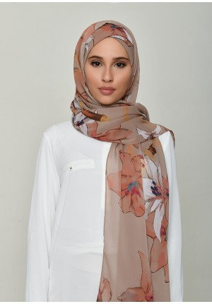 Lilies Beige-Free Style with Xinner-Printed Crinkled Chiffon