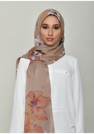 Lilies Beige-Free Style with Bokitta Inner-Printed Crinkled Chiffon