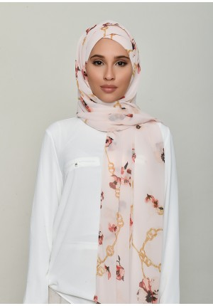 Chains Pink-Free Style with Xinner-Printed Georgette