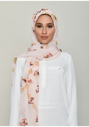 Chains Pink-Free Style with Bokitta Inner-Printed Georgette