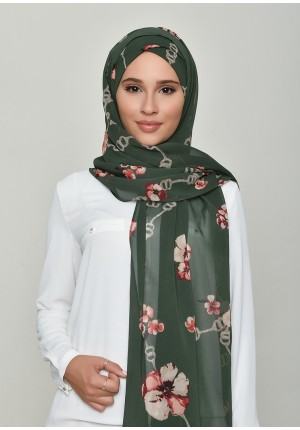 Chains Green-Free Style with Xinner-Printed Georgette