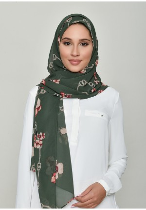 Chains Green-Free Style with Bokitta Inner-Printed Georgette