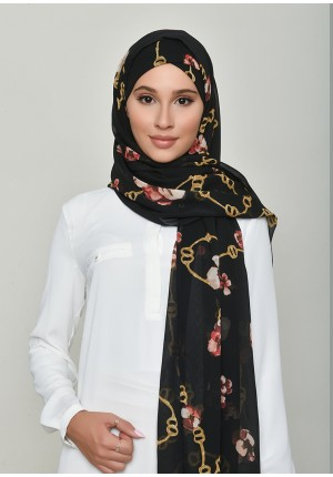Chains Black-Free Style with Xinner-Printed Georgette