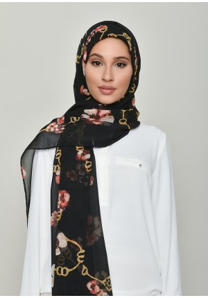Chains Black-Free Style with Bokitta Inner-Printed Georgette