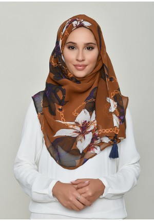 Lilies Caramel-Chic!-Printed Crinkled Chiffon