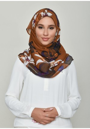 Lilies Caramel-Voila!-Printed Crinkled Chiffon