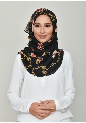 Chains Black-Voila!-Printed Georgette