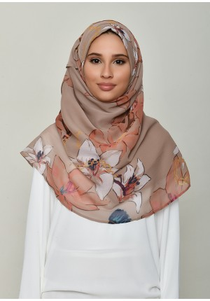 Lilies Beige-Voila!Maxi-Printed Crinkled Chiffon