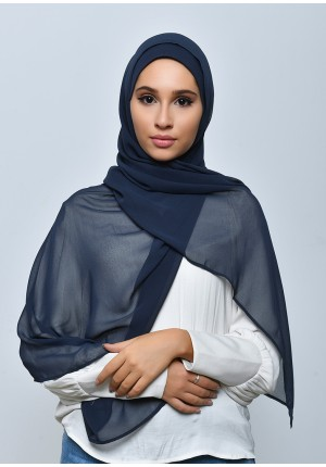 Navy-Free Style-Plain Crepe Chiffon (include inner)