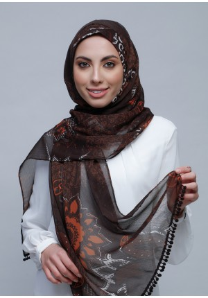 Sincerity-Free Style with Bokitta Inner-Printed Crinkled Chiffon (Include Inner)