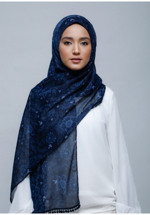 Joy-Free Style with Bokitta Inner-Printed With Pompoms Crinkled Chiffon