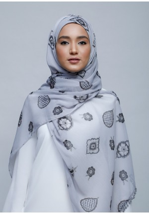 Purity-Free Style with Bokitta Inner-Printed With Pompoms Crinkled Chiffon