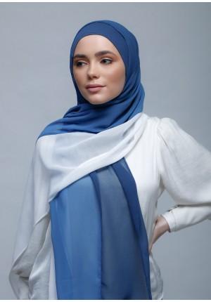 JeansBlueWhite-Free Style-Plain Crepe Chiffon