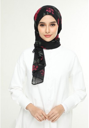 Jameela Black-Cap Shawl-Printed Crinkled Chiffon