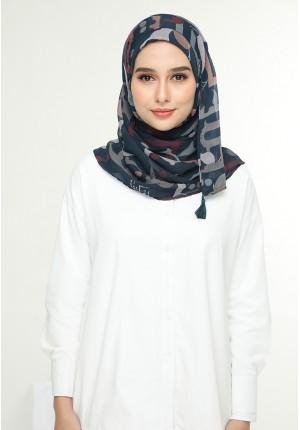 Qawiyya Navy-Chic Mini-Printed Crinkled Chiffon