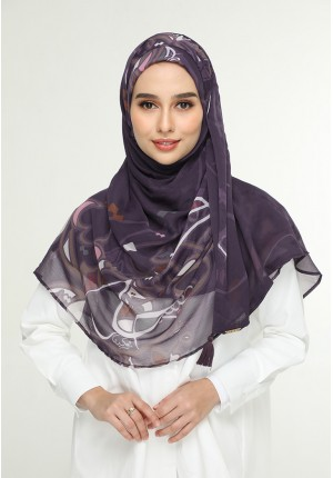 Fariha Plum-Chic!Maxi-Printed Crinkled Chiffon