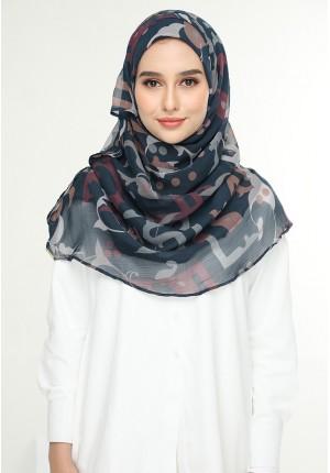 Qawiyya Navy-Voila!Maxi-Printed Crinkled Chiffon