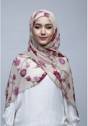 Dahlia-Free Style with Xinner-Printed Crinkled Chiffon