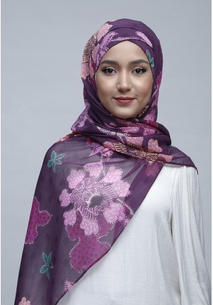 Scabiosa-Free Style with Xinner-Printed Crinkled Chiffon
