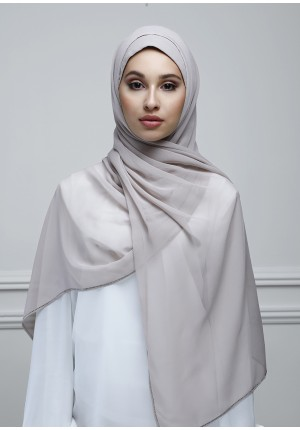 Atmosphere-Free Style-Plain With Crystals Crepe Chiffon