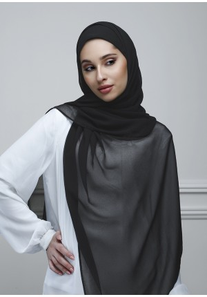 Black-Free Style-Plain With Crystals Crepe Chiffon