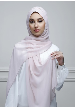 Bridal Pink-Free Style-Plain With Crystals Crepe Chiffon