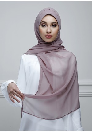 Dusty Mauve-Free Style-Plain With Charms Crepe Chiffon