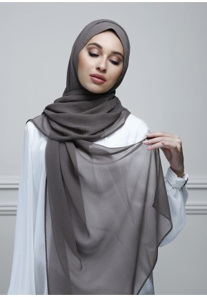 Olive Brown-Free Style-Plain With Charms Crepe Chiffon