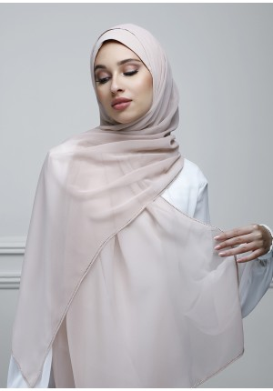 Rose Smoke-Free Style-Plain With Crystals Crepe Chiffon