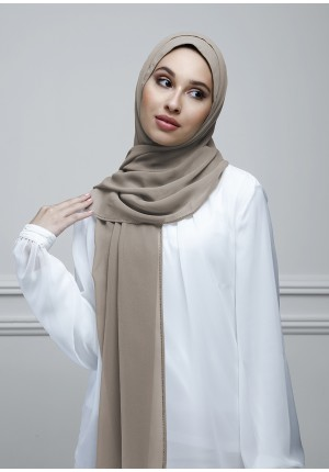 Taupe Gray-Free Style-Plain With Charms Crepe Chiffon