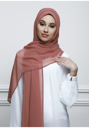 Vintage Rose-Free Style-Plain With Charms Crepe Chiffon