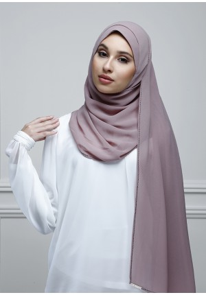Dusty Mauve-Jolie-Plain With Charms Georgette