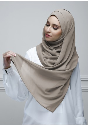 Taupe Gray-Jolie-Plain With Charms Georgette