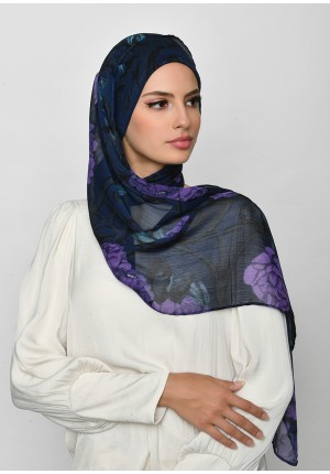 Message From Unknown-Cap Shawl-Printed Crinkled Chiffon